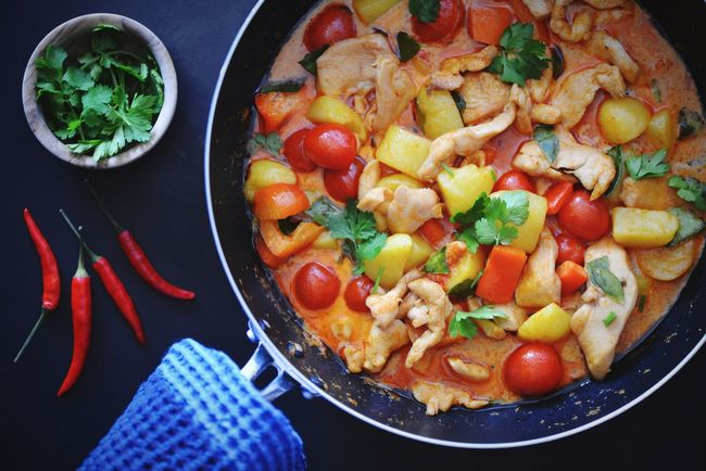 Cooking Asian Culture Coconut Cream Coconut Milk Potatoes Chicken Curry Homemade Chickens Spicy Food Curry Food And Drink Food Vegetable Healthy Eating Indoors  Tomato No People Ready-to-eat Freshness