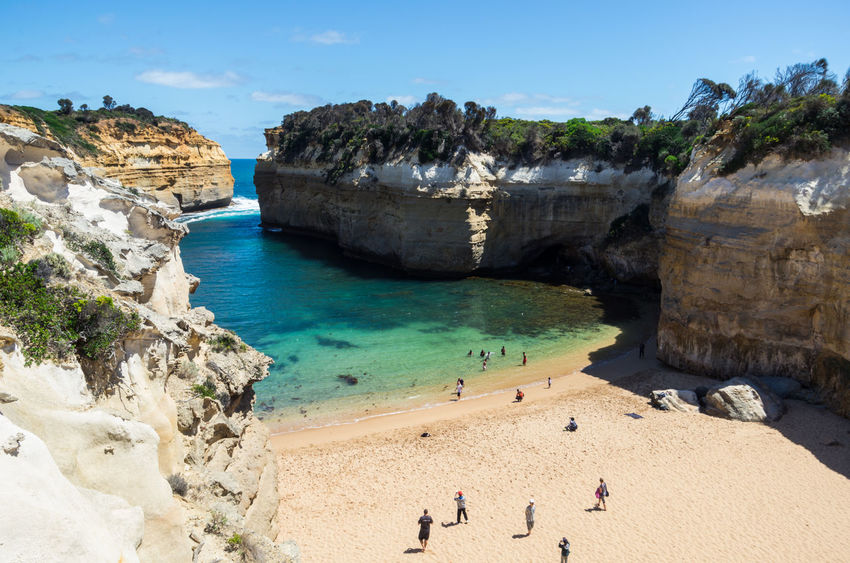 Australia Australian Beaches Australian Landscape Beach Beauty In Nature Coastline Cove Day Great Ocean Road Landscape Loch Ard Gorge Nature Outdoors People On Beach People On The Beach Sand Scenics Sea Summer Swimmers Tourism Travel Destinations Vacations Victoria Water