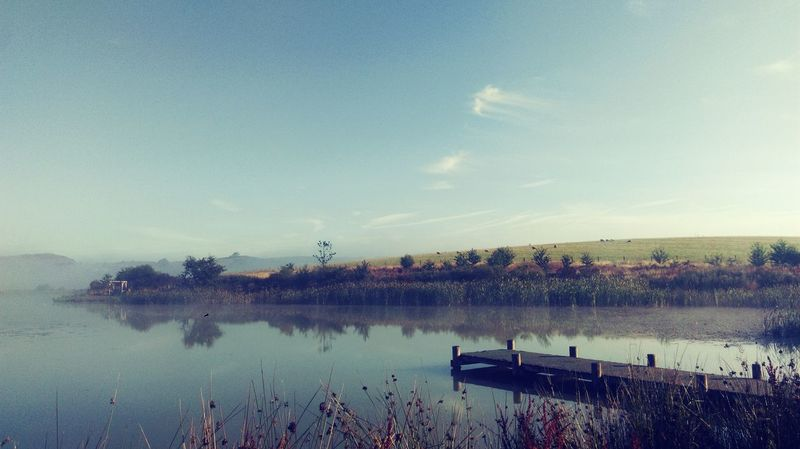 the lake on an August morning Camping Wales