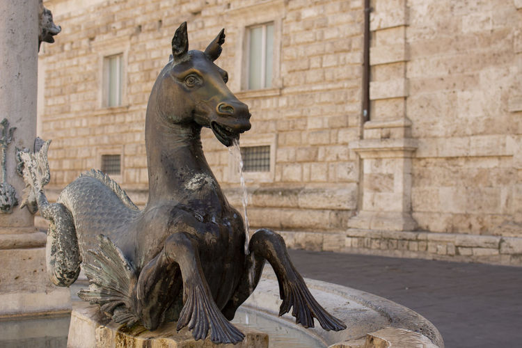 Sculpture Statue History The Past Travel Destinations No People Old Outdoors Fountain Seahorse Water Square