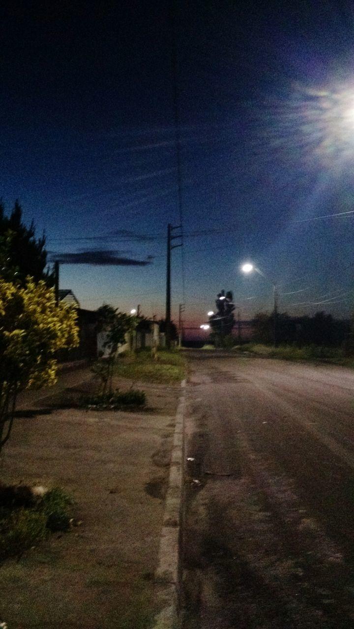 sky, illuminated, night, road, outdoors, no people, the way forward, street light, nature, tree, clear sky