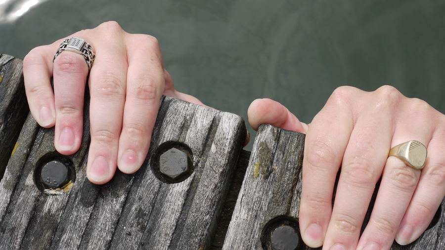 Close-Up Of Hands With Finger Rings