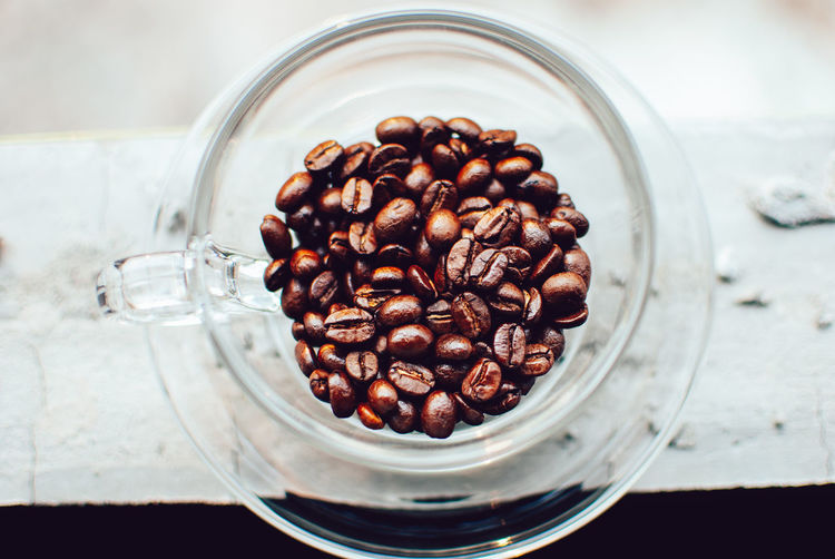 Food And Drink Food Roasted Coffee Bean Indoors  Coffee Coffee - Drink Still Life Glass - Material Container Jar Table Freshness No People Drink Close-up Glass Large Group Of Objects Refreshment Transparent High Angle View Caffeine Temptation