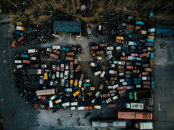 Aerial view of vehicles parked in parking lot