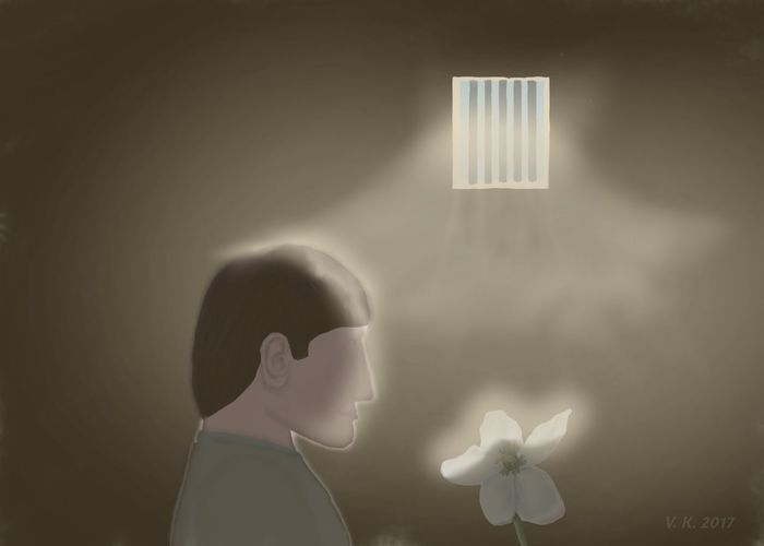 There is hope - my new digital painting created with Ibispaint X for Android. One Person Prison Flower Light And Shadow Digital Art Digital Painting MYArtwork❤ Myart❤