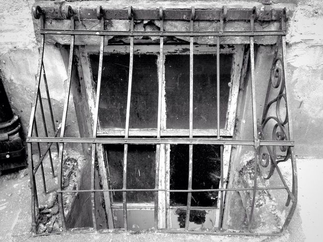 Blackandwhite Window Warsaw Capital Cities  Metal Grating Bars Tenement Houses Scary Stuff  Scary Places