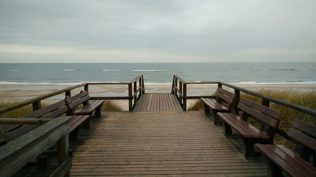 Walk to the Beach. · Rantum Sylt Germany Island Playa Strand Sand Pier Stairs Nordsee Sea Ocean Water Waterfront Clouds And Sky Gray Personal Favorite