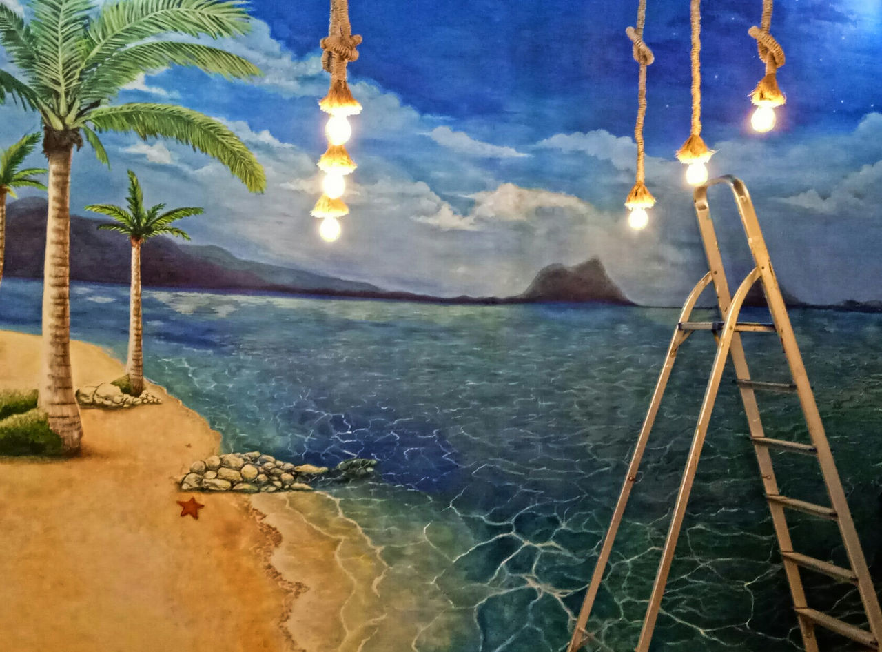 Painting Tropical Paradise Palm Tree Water Sea Tree Beach Travel Destinations No People Outdoors Blue Sky Nature Day
