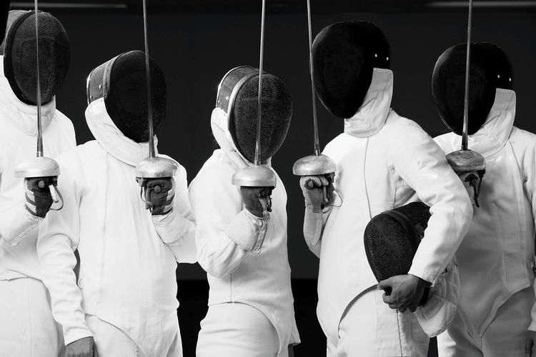 Portrait of fencing team