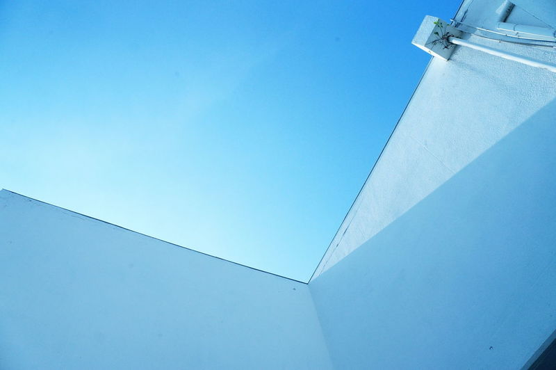 Low Angle View Architecture Blue No People Built Structure Day Sky Outdoors Clear Sky Modern Building Exterior