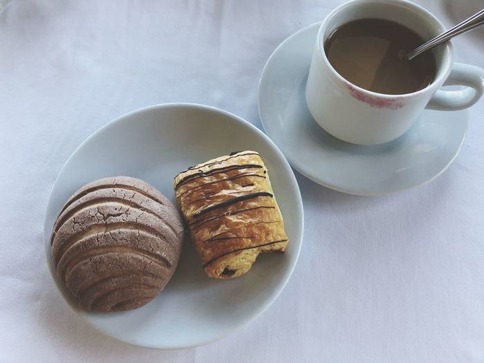 Mexican Breakfast White Morning Breakfast White Lipstick On The Cup Croissant Mexican Sweet Bread Lipstick Pan Dulce EyeEmNewHere Coffee Mug Refreshment Table High Angle View No People Still Life