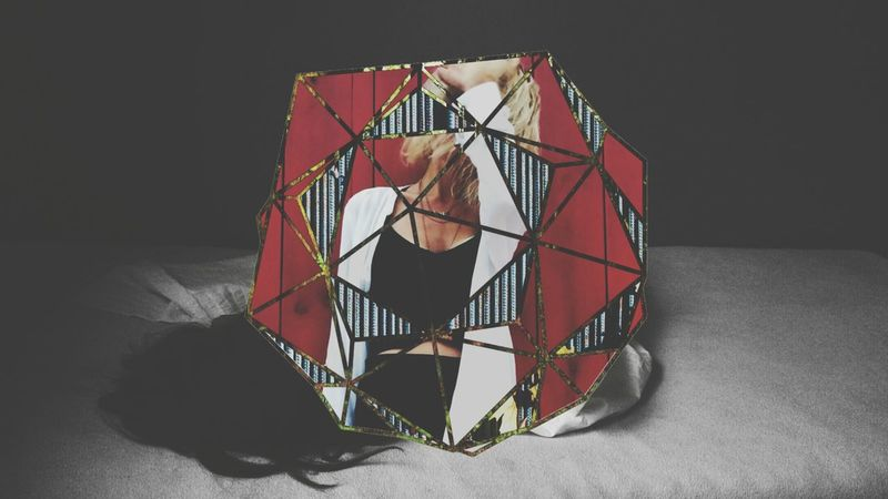 Bed Night Time Sleep Rest Grate Red Wall Cute Woman Well  Dressed Sphere Geometric