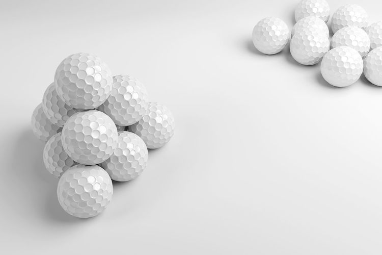 3d rendering golf ball on white background. 3d Rendering Golf Ball Copy Space Game Group Object Play Render Rendering Sport White White Background