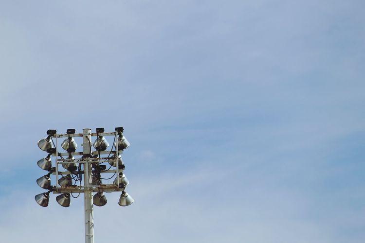 Illumination Light Lights Silver  Tall - High Sky Blue Blue Sky Cloud - Sky Lamp Metal Metallic Daylight Football Football Stadium Collection EyeEm Best Shots EyeEm Selects EyeEmNewHere EyeEm EyeEmBestPics Outdoors Day No People Sky Bird The Graphic City