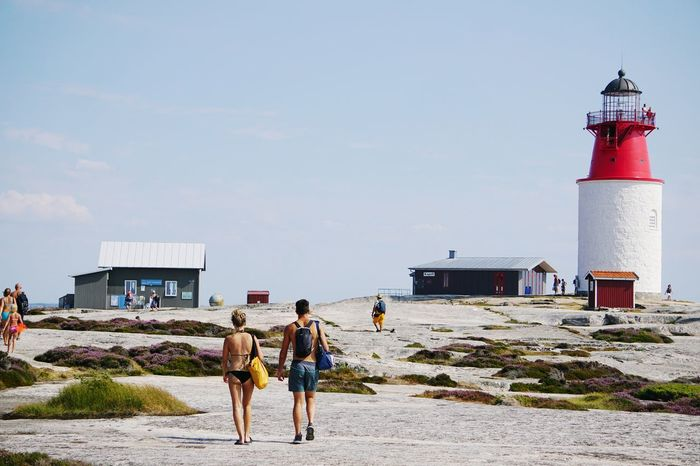 summer Lighthouse Summer Sweden Clear Sky Sea Lighthouse Beach Men Water Full Length Sand Summer Women Horizon Over Water Shore Seascape Coast Lookout Tower Calm Ocean Rocky Coastline The Great Outdoors - 2018 EyeEm Awards