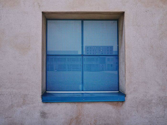 Blue Architecture Built Structure No People Building Exterior Wall - Building Feature Day Closed Pattern Building Security Outdoors Window Safety Close-up Protection Metal Sunlight Rectangle Shape