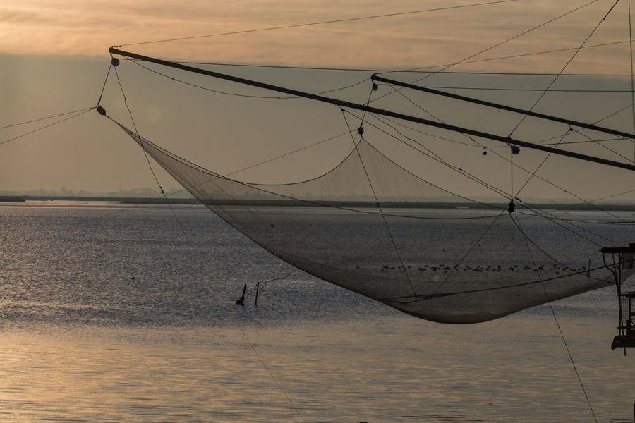 Trebuchet Fishing Nature No People Outdoors Sea Sunset Trabucco Trebuchet Water