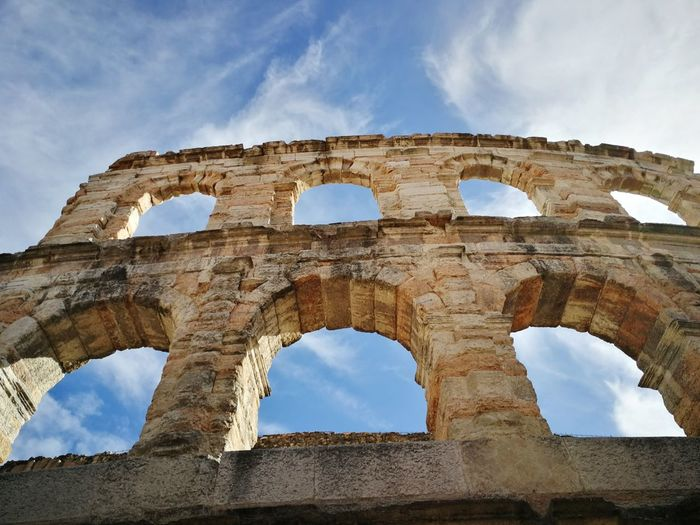 View From Below Western Europe Tourism Landmark Architecture Cloud - Sky Sky Verona Arena Arena Di Verona Veneto Italy Roman Empire EyeEm Selects Ancient Civilization City Old Ruin Ancient Blue History Archaeology Monument The Past Amphitheater Ancient Rome Roma Ancient History Ruined Civilization Roman