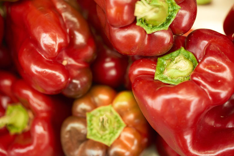Full frame shot of red bell peppers for sale at market