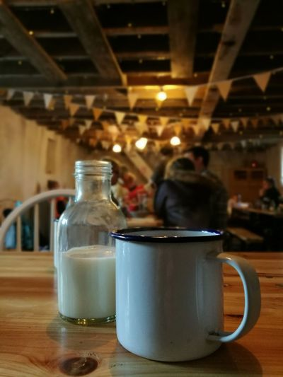 Food Drink Indoors  Freshness Day Lunch People Coffee Coffee Time Lights Indoorlight Barn Indoors  Sitting Country Life Milk Milkbottle