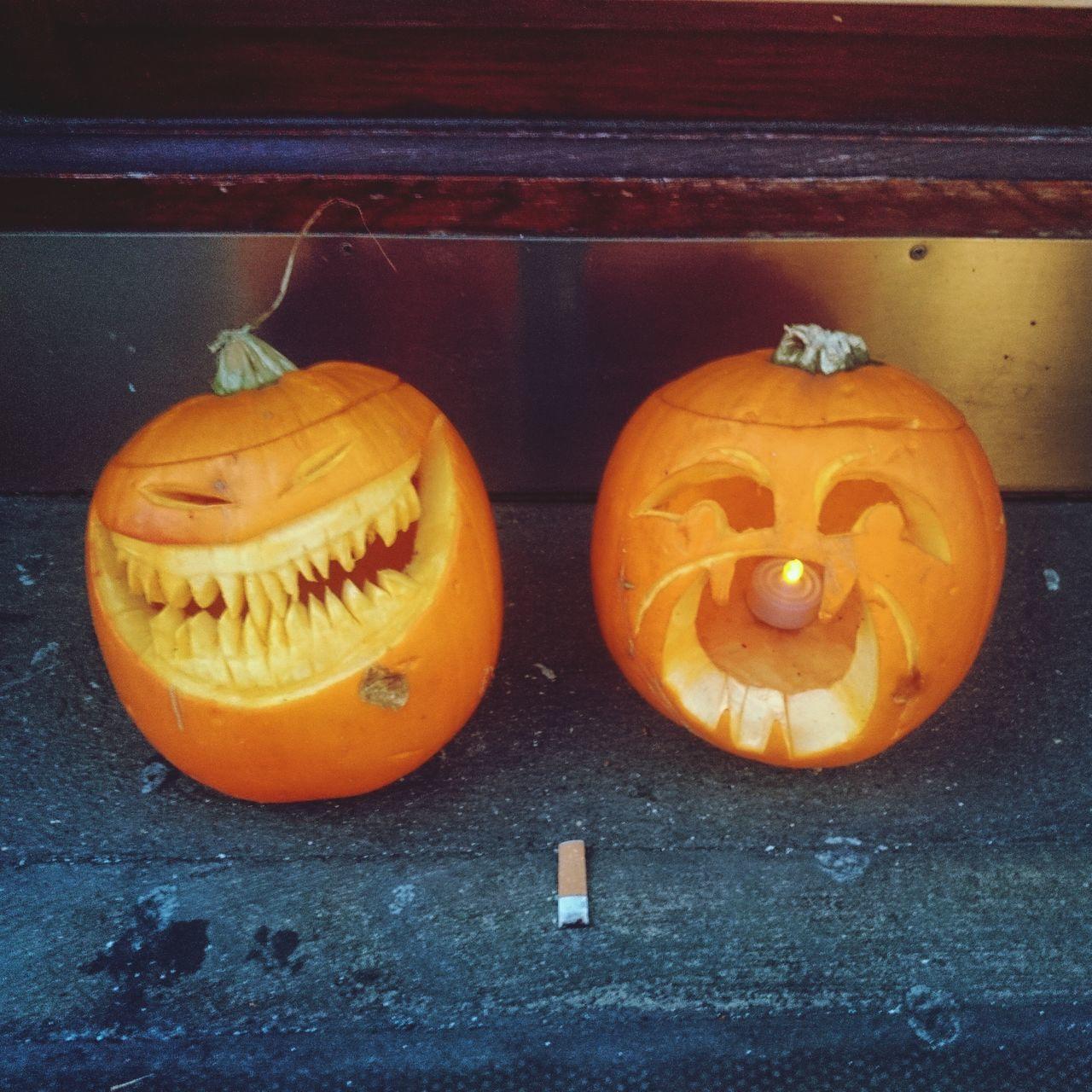 pumpkin, halloween, orange color, anthropomorphic face, jack o lantern, no people, celebration, food and drink, indoors, food, close-up, day
