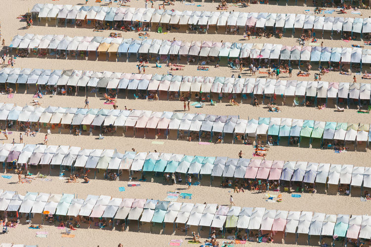 A Bird's Eye View Abundance Backgrounds Beach Blue Close-up Collection Colorful Day Focus On Foreground Full Frame Group Of Objects In A Row Large Group Of Objects Medium Group Of Objects Multi Colored Multicolored No People Outdoors Shelf Textile