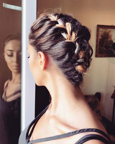 One Woman Only Young Adult Beautiful Woman Make-up Hair Bun Hairstyle Fashion Reflactions Braided Diedhair Longneck Indoors  Young Women
