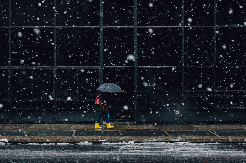 Woman with umbrella walking on sidewalk during snowfall