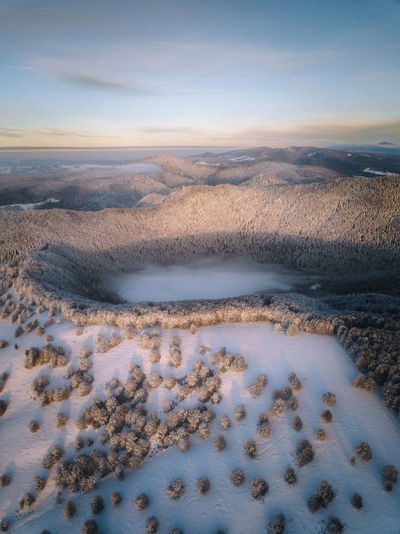 Aerial view of land against sky during winter