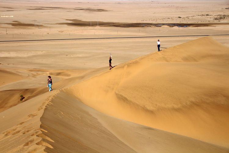 Hiking Nature Dune Sand Namibia Africa EyeEm Selects Sand Dune Full Length Desert Sand Adventure Sunset Walking Togetherness Hill Sky Arid Landscape Arid Climate Panoramic Drought Extreme Terrain Namib Desert Rugged Semi-arid Physical Geography Barren Arid Stepping