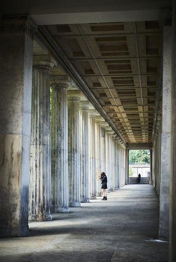 Person in corridor of building