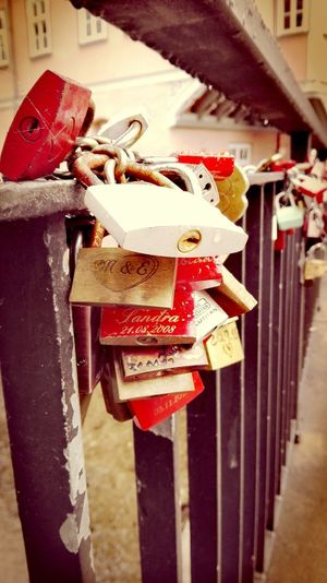 Hanging Padlock Close-up Focus On Foreground Outdoors Red Bokeh Erfurt Klein Venedig City How's The Weather Today? The Places I've Been Today September 2016 Showcase September Autumn 2016 Stretphotography Erfurt Erfurt Taking Photos Tourism Local Landmark Locks Of Love Locked Together Until Rust Tear Us Apart