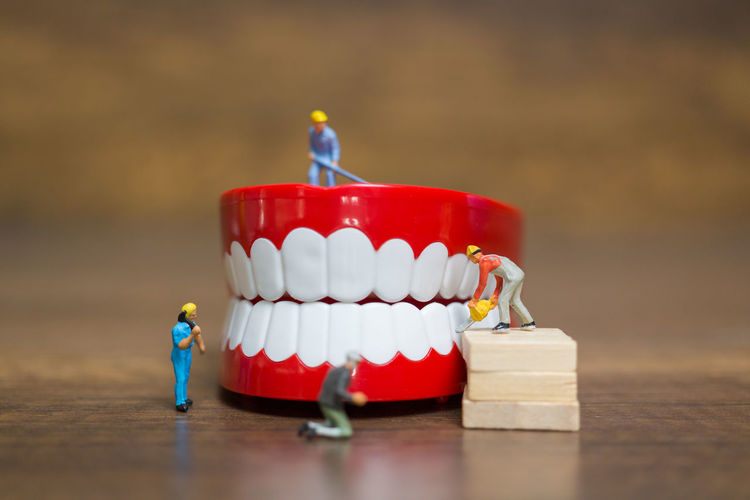 Miniature people : Worker team repairing a tooth ,Healthcare and medical concept Care Dental Dentist Mouth Print Teamwork Worker Anachronism Brush Concept Dentures Healthy Eating Indoors  Jaw Medical Miniature Miniature People Performing Arts Event person Plastic Repair Table Teeth Toothy Smile Treatment