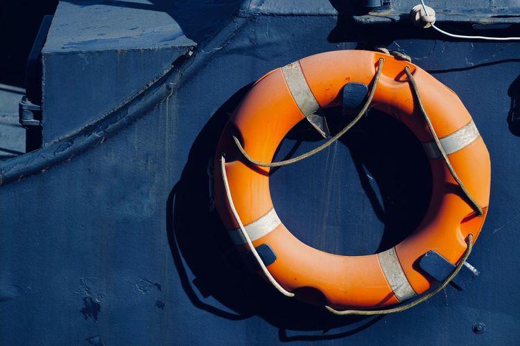 Life belt hanging on ship