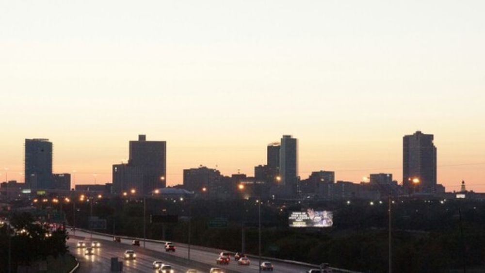 Cityscapes City Skyline Fort Worth Texas Sunset Silhouettes Architecture Buildings & Sky Buildings Downtown