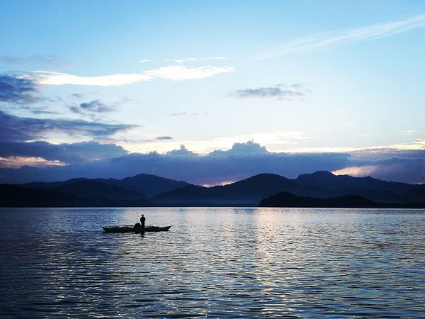Mountain Silhouette Mountain Range Sunset Adventure Kayak Outdoors Beauty In Nature Lake Nature Cloud - Sky Water Landscape Scenics Nautical Vessel One Person Outdoor Pursuit Sky People Day Beauty In Nature Travel Sea Palawan Philippines Elnido #fishing