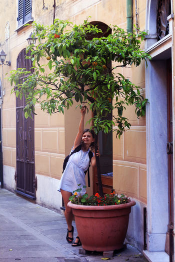Full length of woman standing by potted plant on street