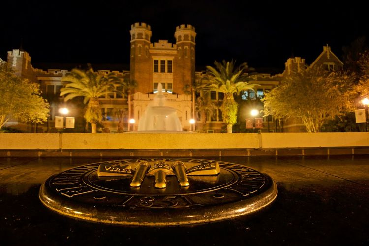 Wescott Building at Flordia State University Florida State Capitol Florida Florida Life Night Nopeople Nofilter Night Photography Night View Nightshot Politics And Government City Tree Illuminated Cityscape Architecture Sky Building Exterior Fountain Flowing Water Flowing Long Exposure Statue Town Square