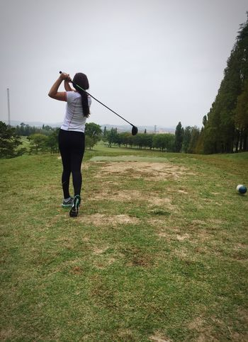 Full Length Leisure Activity Lifestyles Grass Casual Clothing Clear Sky Motion Person Green Color Growth Plant Day Outdoors Sky Scenics Grassy Tranquility Tranquil Scene Young Adult The Way Forward Golf Golfcourse