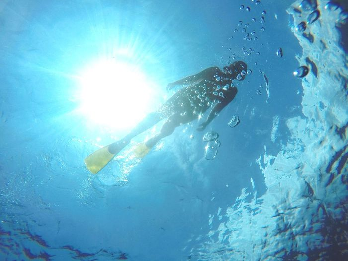 Low Angle View Of Man Swimming Undersea