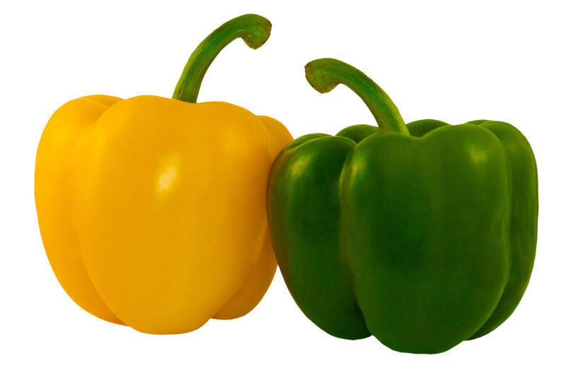 Close-up of yellow bell pepper against white background