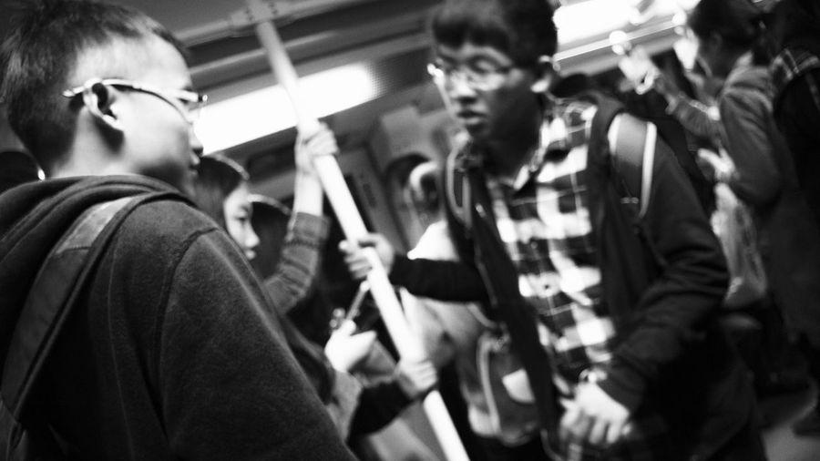 Tense up Atmosphere Blackandwhite Crowd Indoors  People Shanghai Standing Subway Tension