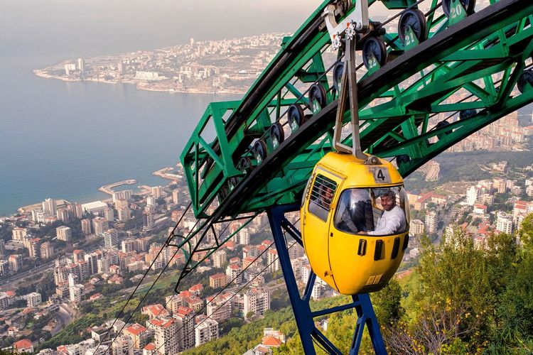 High angle view of overhead cable car