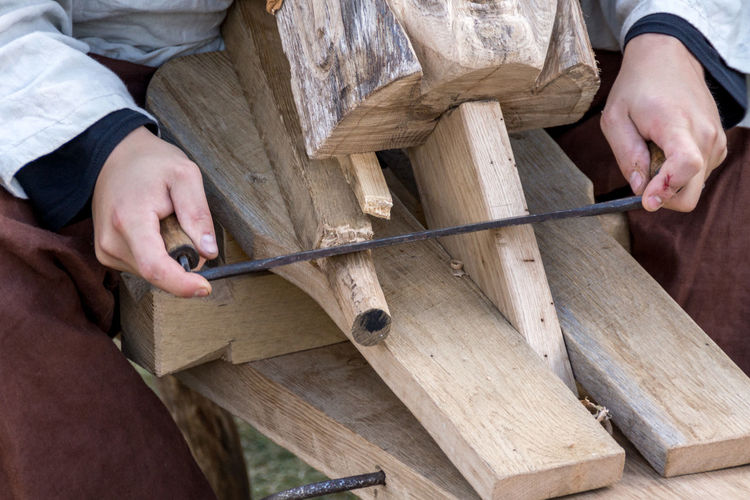 High Angle View Of Person Doing Carpentry