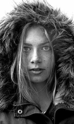 Portrait Of Woman Wearing Fur Hat