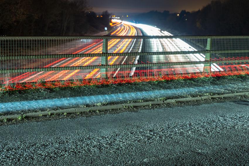 Night view of UK Motorway traffic Blur Motion Cars England Light Tail Motorway@night Night No People Outdoors Sky Speed Traffic Train - Vehicle Uk UK Motorway