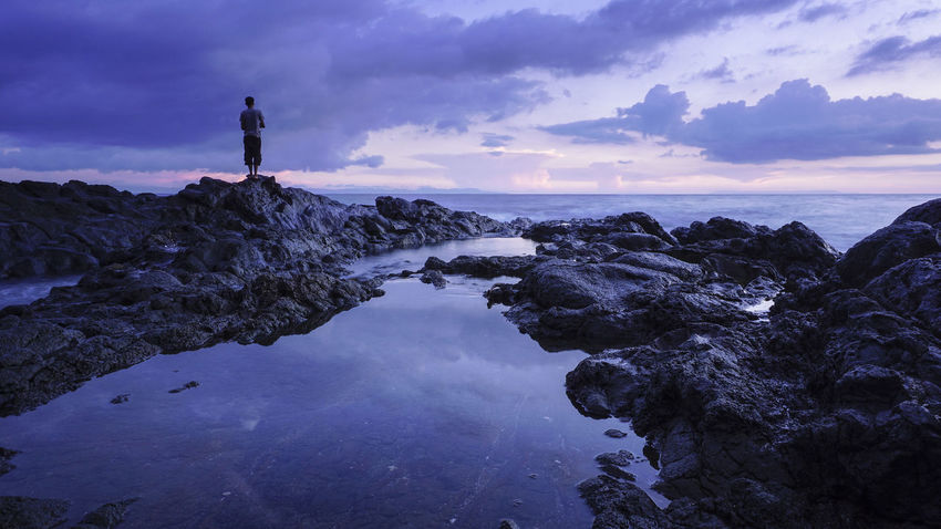 Reflection Water Sea Silhouette Cloud - Sky Sunset Sky Night Landscape Outdoors Beach No People Nature Star - Space Astronomy