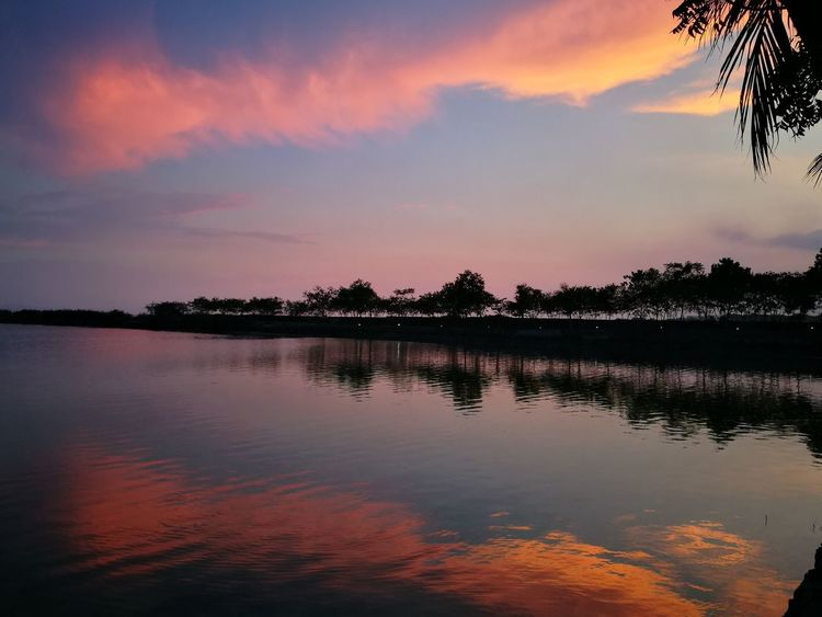 Reflection Lake Sunset Sky Water Cloud - Sky Scenics Landscape Outdoors No People Red Multi Colored Horizon Over Water Tree Nature Beauty In Nature Day