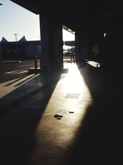 Sunlight falling in corridor