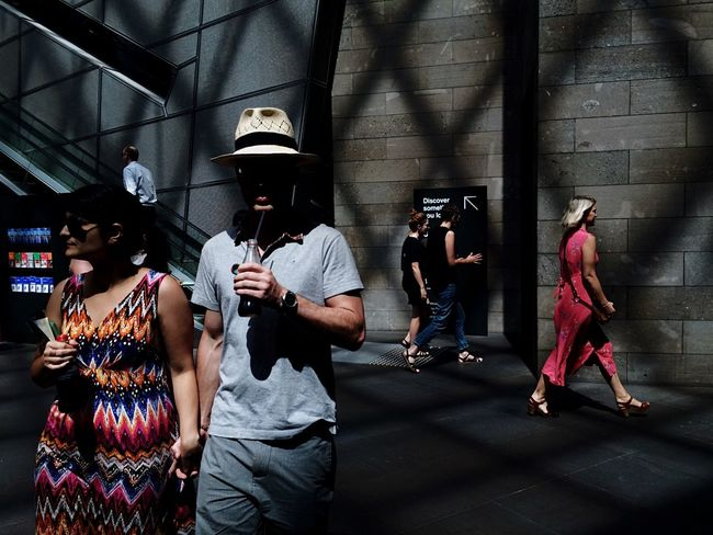 Spent a hot afternoon in NGV, can't believe it's my first visit there since I first came to Melbourne 3 years ago. Not sure about the rest but I do enjoy the cooler temperature in there as compare to outdoor today. Open Edit ProCamera - Shots Of The Year 2014 Streetphotography Streetphoto_color Mobilephotography IPhoneography People Watching EyeEm Melbourne The Street Photographer - 2015 EyeEm Awards